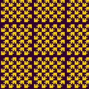 Puzzle Piece Block Grid Purple Gold