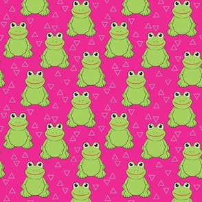 random froggies with triangles on hot pink
