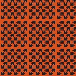 Puzzle Piece Block Grid Black Orange