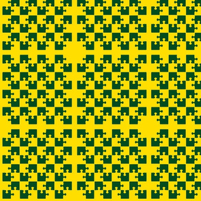 Puzzle Piece Block Grid Green Gold Yellow