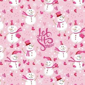 Festive Snowmen - Pink