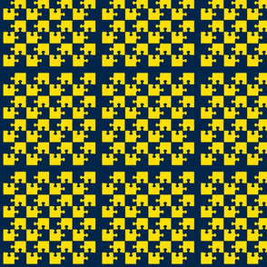 Puzzle Piece Block Grid Blue Yellow