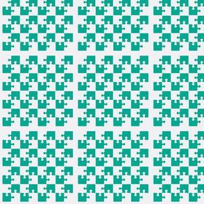 Puzzle Piece Block Grid Aqua White