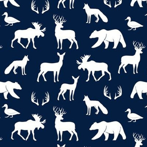 (small scale) woodland animals on navy