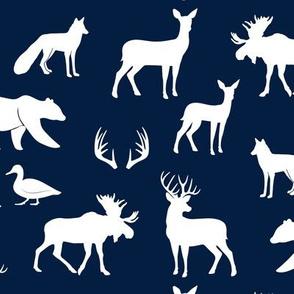 woodland animals on navy
