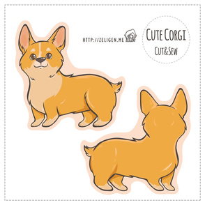 Cute Corgi cut and sew plushie