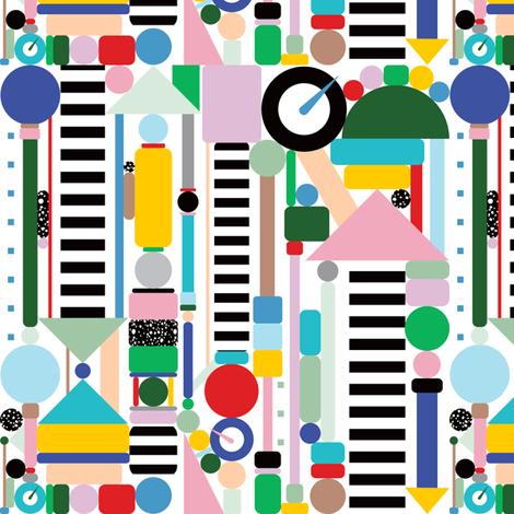 Memphis Milano Postmodern City Towers fabric by elliottdesignfactory on Spoonflower - custom fabric
