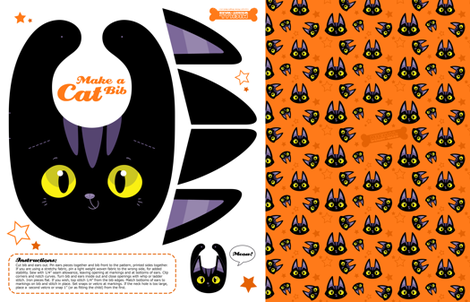Black Cat Baby Toddler Bib - A Halloween Cut and Sew Project fabric by michalwright-ward on Spoonflower - custom fabric