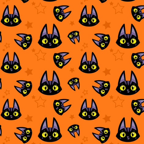A Witch's Best Friend - Cute Black Cat and Stars fabric by michalwright-ward on Spoonflower - custom fabric