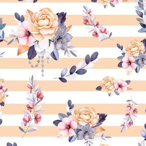 Peach Orange Stripe Floral