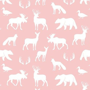 (small scale) woodland animals on rose