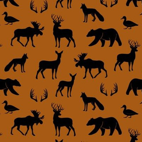 (small scale) woodland animals - black on dark maple