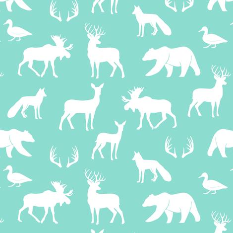 (small scale) woodland animals on dark aqua fabric by littlearrowdesign on Spoonflower - custom fabric