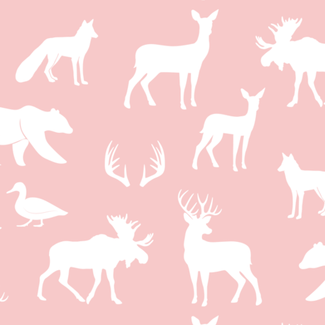 woodland animals on rose fabric by littlearrowdesign on Spoonflower - custom fabric