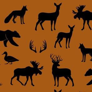 woodland animals - black on dark maple