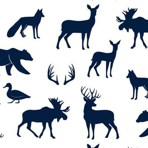 woodland animals - navy