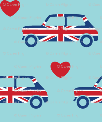Mini Cooper Hearts - Union Jack Car - Small
