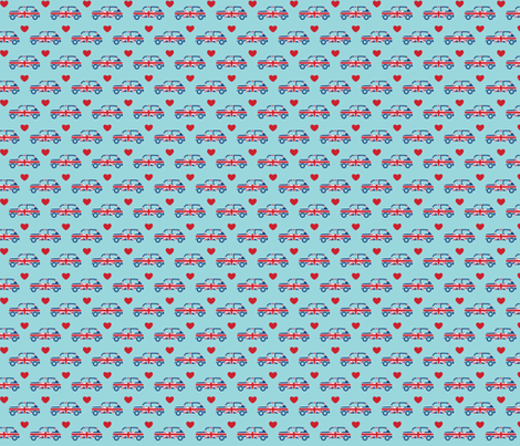 Mini Cooper Hearts - Union Jack Car - Small fabric by cpilgrim on Spoonflower - custom fabric