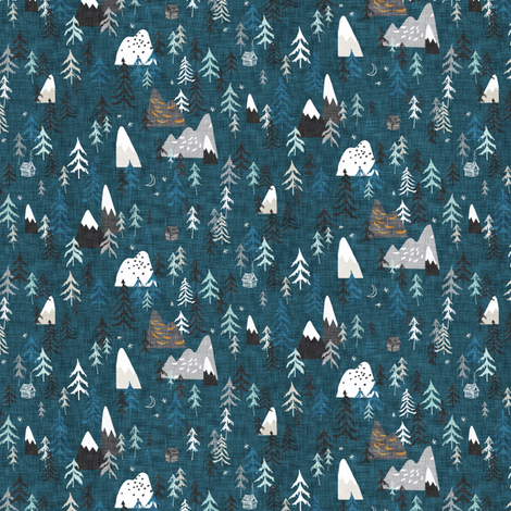 Forest Peaks (MICRO) (midnight blue)  fabric by nouveau_bohemian on Spoonflower - custom fabric