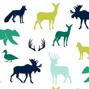 woodland animals - greens and blue