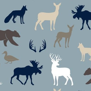 woodland animals - rustic woods blue