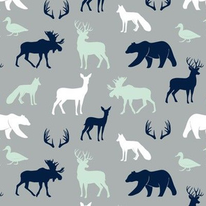 (small scale) woodland animals - northern lights grey