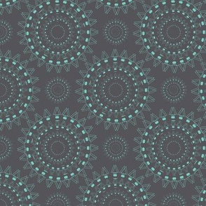 Spiky Concentric Circles Light Green on Gray Upholstery Fabric