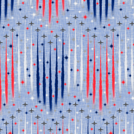 Vintage Patriotic Flyover fabric by inscribed_here on Spoonflower - custom fabric