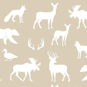 woodland animals - rustic woods tan