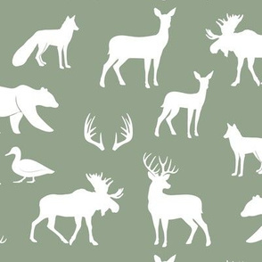 woodland animals on sage