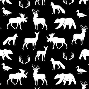 (small scale) woodland animals on black