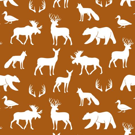 (small scale) woodland animals - dark maple fabric by littlearrowdesign on Spoonflower - custom fabric