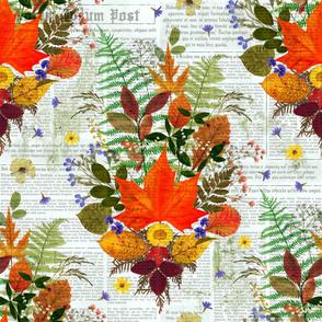Fall Foliage Pressed on Newspaper