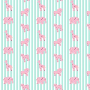 Pink Frosted Animal Cookies on Aqua Stripes