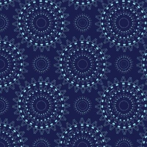 Spiky Concentric Circles Blue Upholstery Fabric