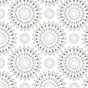 Spiky Concentric Circles White Upholstery Fabric