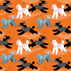 Poodles in the Park ORANGE // fun play dogs ball fetch polkadot vintage retro bright colourful puppies