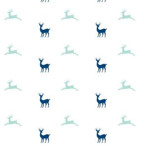Deer - navy - 7  seafoam mist