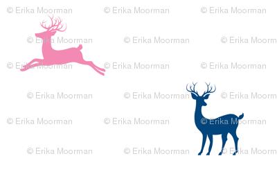 Deer - navy - 7  bubble gum pink