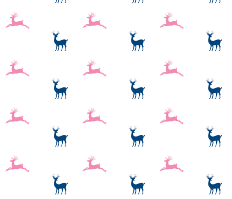 Deer - navy - 7  bubble gum pink fabric by drapestudio on Spoonflower - custom fabric