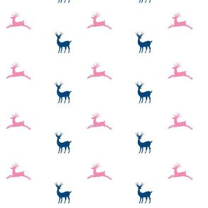 Deer - navy - 7  bubble gum pink