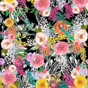 Autumn Blooms Painted Floral // Black