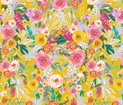 Autumn Blooms Painted Floral // Mustard fabric by theartwerks on Spoonflower - custom fabric