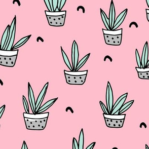 Pop culture series green home garden plants and pots illustration print design pink