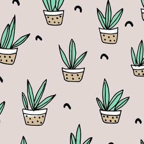 Pop culture series green home garden plants and pots illustration print design gender neutral beige