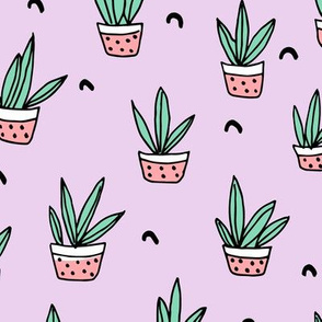 Pop culture series aloe vera green home garden plants and pots illustration print design violet lavender