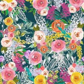 Autumn Blooms Painted Floral // Teal