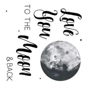 "4 to 1 Yard for 42"" Fabrics / Love You to the Moon and Back Quote"