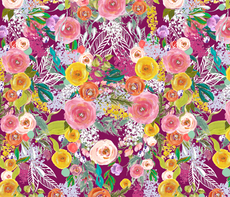Autumn Blooms Painted Floral // Mulberry fabric by theartwerks on Spoonflower - custom fabric
