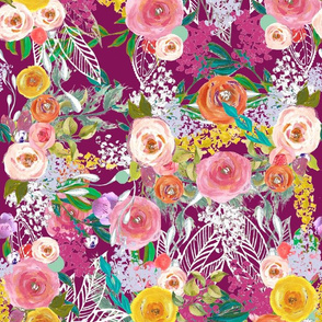 Autumn Blooms Painted Floral // Mulberry (Regular size)